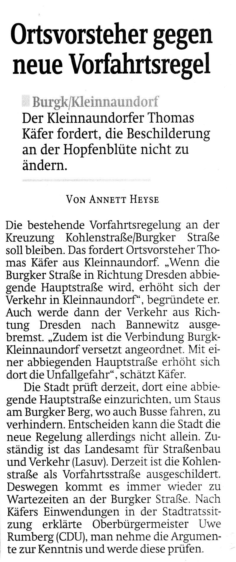 Sächsische Zeitung 12.02.2018 Vorfahrtsregelung Hopfenblüte